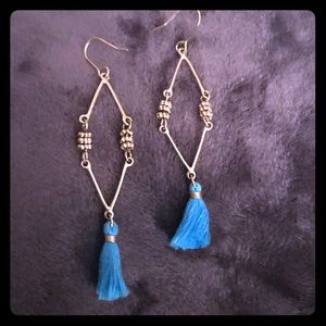 Turquoise and gold tassel earrings